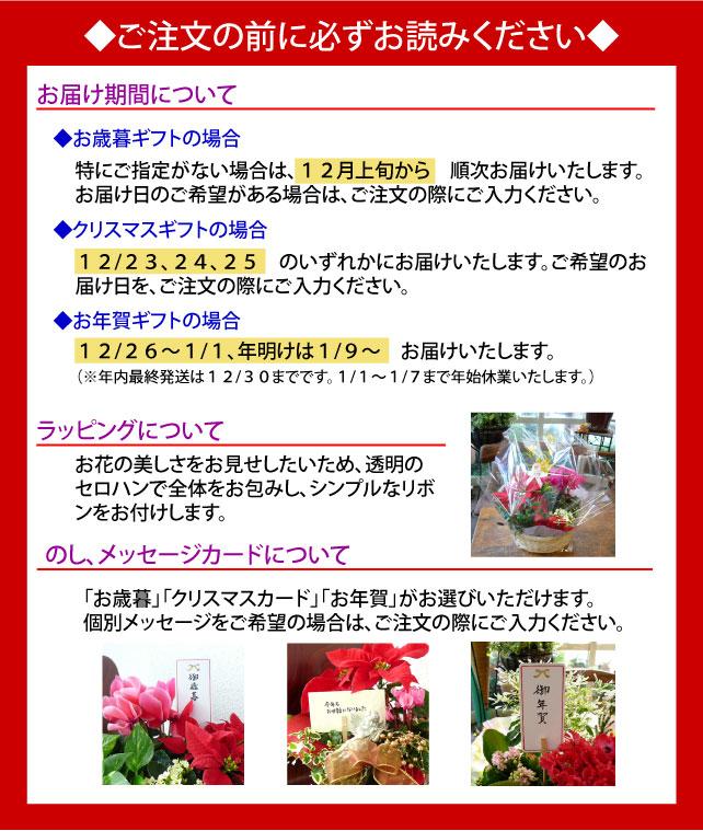 ◆お歳暮◆指定がない場合は、12月上旬からお届け◆クリスマス◆12/23、24、25◆お年賀◆12/26~1/1、年明けは1/9~